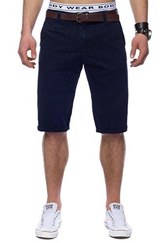 Herren Bermuda-Shorts · (Casual Slim Fit) Kurze Chino Short mit braunem Kunstleder-Gürtel, Bermuda Sommer Freizeit Capri Hose Walkshort aus 100% Baumwolle, in Braun und Blau · H1443 in Markenqualität (Klassische Fly Shorts Zip)