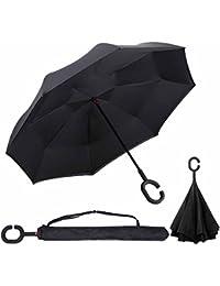 Parapluie Inversé innovant, Parapluie Canne Double Couche Coupe-Vent, Mains Libres poignée en Forme C - Idéal pour Voiture et Voyage