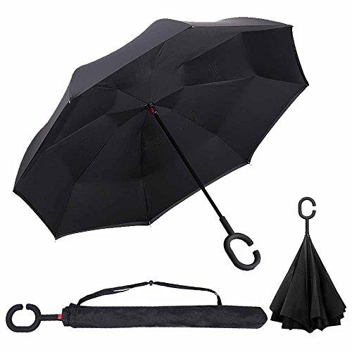 Parapluie Inversé innovant, Parapluie Canne Double Couche Coupe-Vent, Mains Libres poignée en forme C - Idéal pour Voiture et Voyage By OYSHOPP (noir)