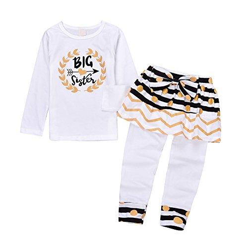 Big Sister Outfits, Kinder Mädchen Herbst Kleidung Set, Langarm Gedruckt T Shirt + Rock Legging Hosen. (Big Sisters Rock)