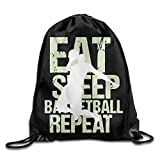Naiyin Eat Sleep Basketball Repeat Drawstring Backpack Bag Beam Mouth Gym Sack Rucksack Shoulder Bags for Men & Women -