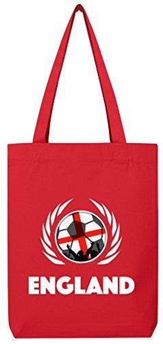 Wappen World Cup Fussball WM Bio Baumwoll Tote Bag Jutebeutel Stanley Stella Fußball England Red