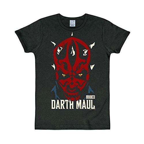 Logoshirt T-Shirt Darth Maul - Star Wars - Rundhals Shirt - Rundhals Shirt Schwarz - Originaldesign, Größe XS