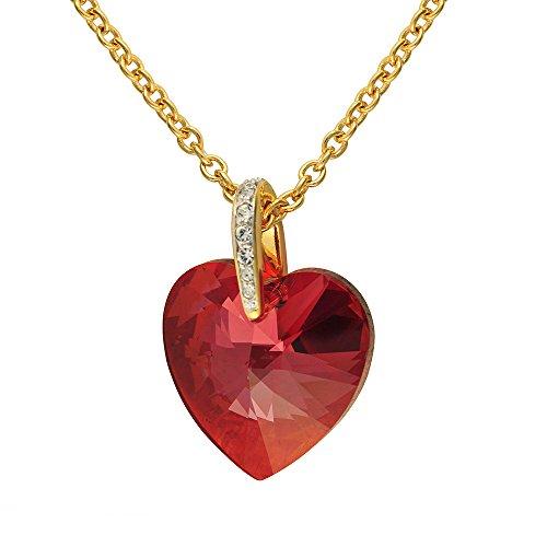 (Cristalina Halskette 18K Vergoldet Magma Swarovski Herz Anhänger mit Pavé Bale mit Kette 46–48,5cm)