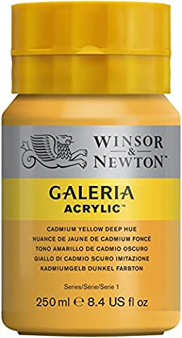 Winsor & Newton 2137115 Galeria Acrylfarbe, hohe Pigmentierung, lichtecht, buttrige Konsistenz, 250 ml Tube - Kadmiumgelb Dunkel