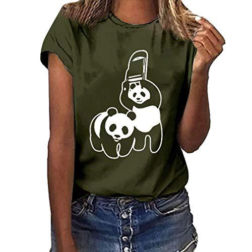 ❤Inawayls Classics Damen T-Shirt Panda-Drucken Basic Tee Rundhals Kurzarm Sommer Shirt Oberteile 10 Farben -