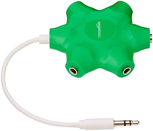 AmazonBasics 5-Way Multi Headphone Splitter, Neon Green(Color May Vary)