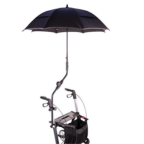 MPB® Rollatorschirm Umbrella MONO Modell 85, Rollator Schirm schwarz reflektierend, mit Schirmhülle, Made in Germany!