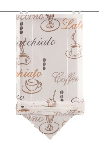 Home Fashion 57232-802 Bändchenrollo Cafe mit Haken, Voile, 140 x 60 cm, Creme