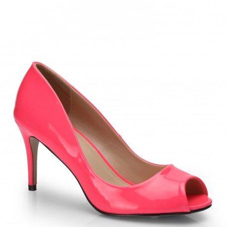 Ideal Shoes - Escarpins à bout ouvert vernis et colorés Jacinta Rose
