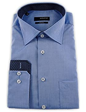 Seidensticker Herren Langarm Hemd Splendesto Regular Fit Kent Patch blau 111816.14