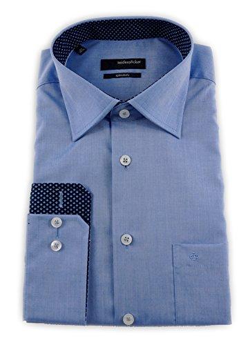 Seidensticker Herren Langarm Hemd Splendesto Regular Fit Kent Patch blau 111816.14 Blau