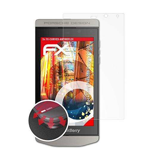 atFolix Schutzfolie passend für BlackBerry Porsche Design P9982 Folie, entspiegelnde & Flexible FX Bildschirmschutzfolie (3X)