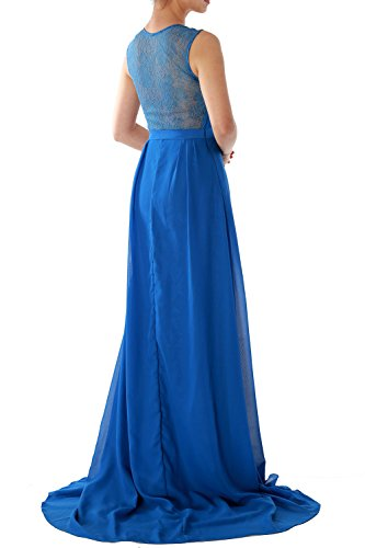 MACloth Women Straps V Neck Lace Chiffon Long Evening Formal Gown Prom  Dress Himmelblau