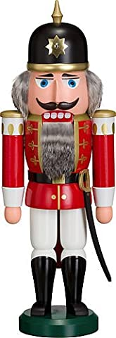 German nutcracker soldier red, height 37 cm / 15 inch, original Erzgebirge by Seiffener Volkskunst (Seiffener Schiaccianoci)
