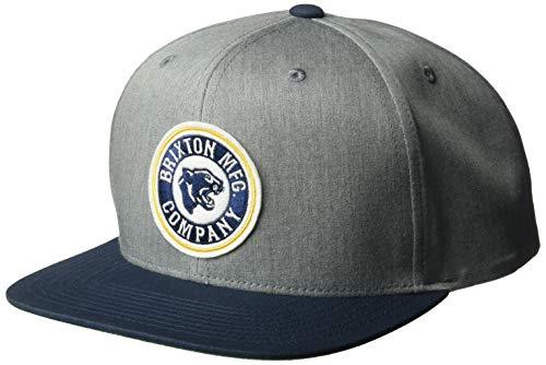 Brixton Herren Forte Medium Profile Snapback Hat Baseball Cap, Grau (Heather Grey)/Marineblau, Einheitsgröße -