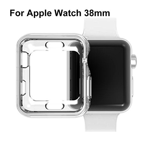 Apple Watch Funda, iTieTie todo-en torno a la caja de TPU transparente de protección ultra fino caso de parachoques para Apple Watch serie 1 serie 2 serie 3 (Apple Watch 38mm)