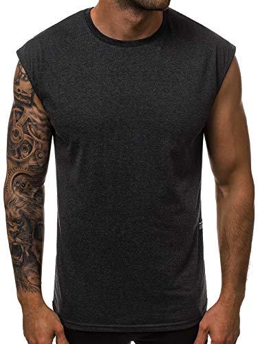 OZONEE Herren Tanktop Tank Top Tankshirt T-Shirt Unterhemden Ärmellos Muskelshirt Sport O/1265 DUNKELGRAU M -