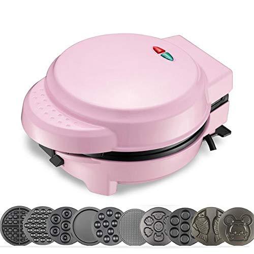 Danniers Waffeleisen, Brownie & Donut Maker | Abnehmbare Antihaft-Platten und automatische Temperaturkontrolle (Farbe : Rosa, Ausgabe : 6 disks)