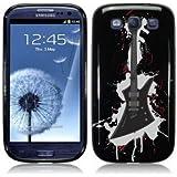 Etui de créateur pour Samsung Galaxy S3 i9300 - Etui / Coque / Housse de protection noir en TPU/gel/silicone avec motif guitare électrique