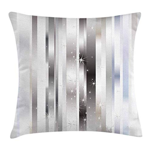 Blue Stripe Silk Boys Band (ZMYGH Stripes Throw Pillow Cushion Cover, Modern Composition with Vertical Color Bands and Vibrant Star Figures, Decorative Square Accent Pillow Case, 18 X 18 Inches, Gray Black Pale Blue)