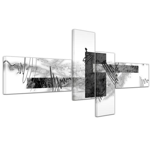 Cuadros en Lienzo - Arte abstracto Abstracto V gris - 140x65cm 4 partes - Listo tensa. Made in Germany!!!