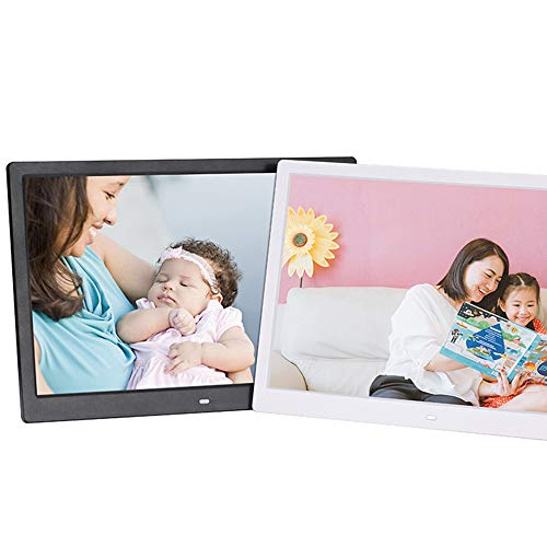 TONGTONG 14 Zoll Digital Photo Frame HD 1280X800 High Resolution Remote Control Electronic Album Picture Music Video Display,White - Photo 14 Digital Frame Zoll