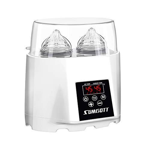 Baby Flaschenwärmer mit zeitgesteuerter Funktion, Multifunktionaler Babykostwärmer/Flaschen Sterilisator, SUMGOTT Doppelflaschen Design Smart Thermostat 5-in-1 Wärmer mit LCD-Echtzeitanzeige
