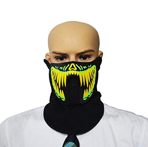 FENGZ Halloween Maske LED Musik Masken Handbemalt Verstellbare Leuchtende Masken Maskerade Party Dekorative Requisiten Leuchtende Leuchten Cosplay,D