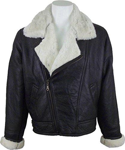 UNICORN Männer Echte Leder Jacke Schafspelz Flieger Mantel diagonal Reißverschluss - Braun und Creme #CG Größe 50