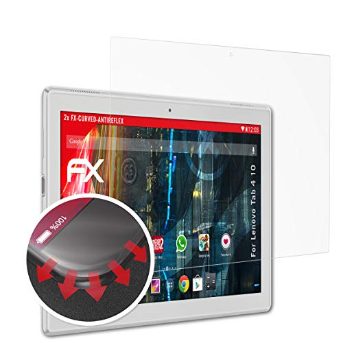 atFolix Schutzfolie passend für Lenovo Tab 4 10 Folie, entspiegelnde und Flexible FX Displayschutzfolie (2X) (Lenovo Flex 10 Zubehör)