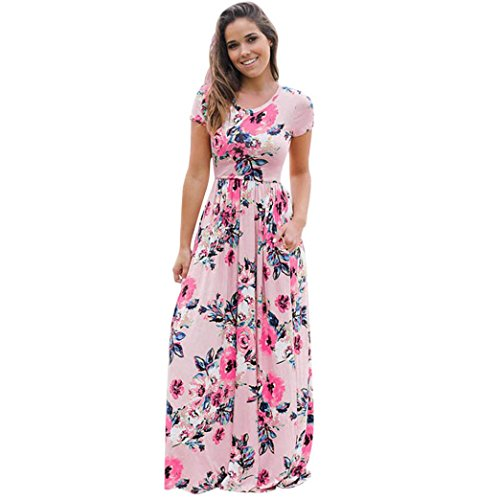 DOLDOA Frauen Sommer Kurzschluss Hülsen Blumen gedrucktes langes Maxi Kleid (Größe: 38 Fehlschlag: 86cm / 33.8
