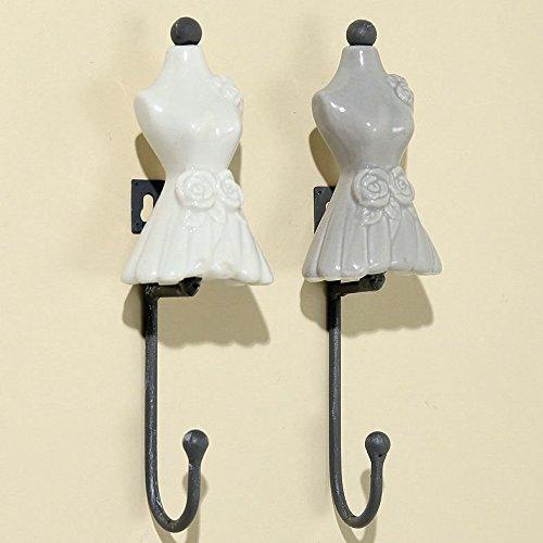 Garderobe Haken 2 er Set Emely Antik Kleid Weiß und Grau Design Eisen H 17 Kleidern Jacken Kinder Haken