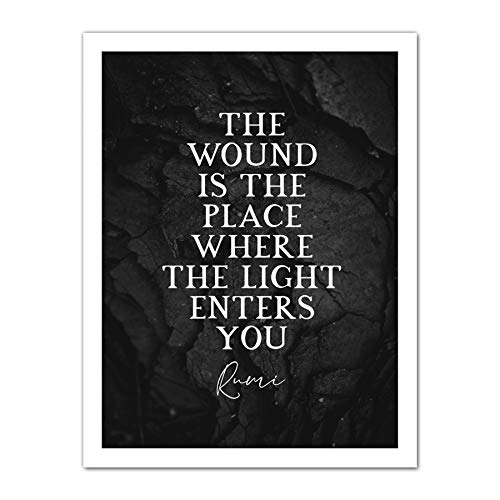 Slate Quote Rumi Wound Light Enters Artwork Framed Wall Art Print 18X24 Inch Citar Ligero Pared