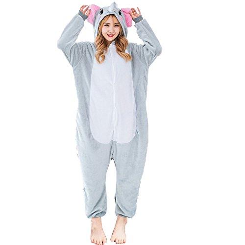 Z-Chen Herren Damen Jumpsuit Schlafanzug Tierkostüm für Halloween Karneval Fasching, Elefant, Gr.L (Körpergröße 168-178cm)