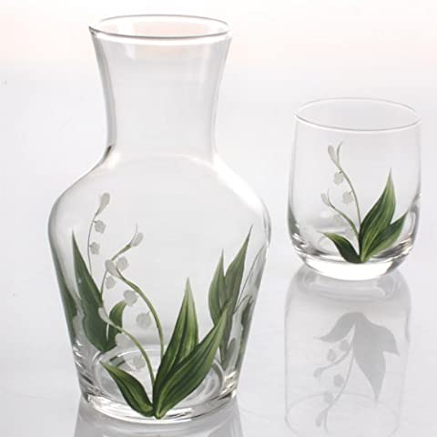 Hand Painted Carafe Set - Lily of The