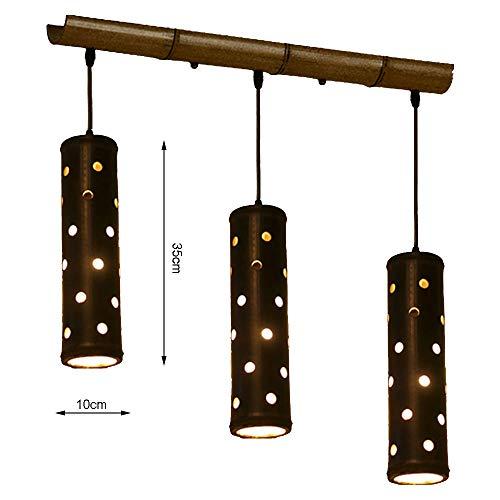 Runde Zylinder Kronleuchter Bambusrohr Geometrische Deckenleuchten Retro LED-Licht Kreative Persönlichkeit Metall Schmiedeeisen Saugschale Für Innenbeleuchtung Treppe Wohnzimmer Leuchte,Three -