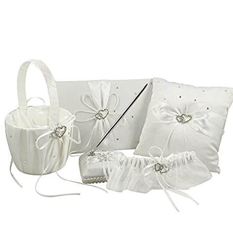 OurWarm Wedding Guest Book + Pen Set + Flower Basket + Ring Pillow + Garter Ivory Cover Bows Heart Rhinestone Rustic Elegant Wedding Ceremony Party