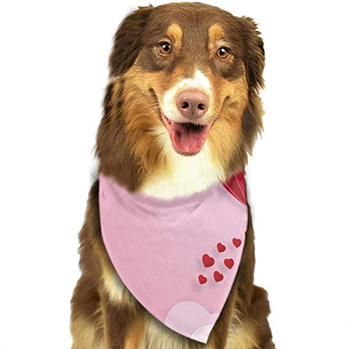 Heart Balloon On Pink Sky and Clouds As Love Fashion Dog Bandana Haustierzubehör Easy Wash Scarf ()