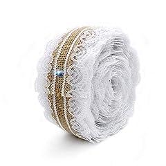 Idea Regalo - Wady, nastro decorativo di pizzo bianco e iuta naturale, rotolo da 2,5cm x 5m, vintage, decorazione per matrimoni, feste, Natale, progetti di artigianato
