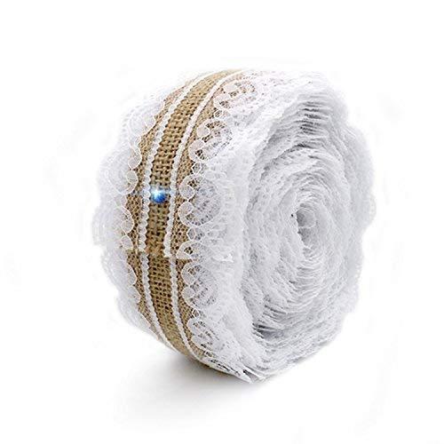 Wady 2,5cm x 5m natur-Jute Jute Sackleinen Spitzenband Rolle + weiße Spitze Vintage Hochzeit Dekoration Party Weihnachten Basteln Deko (Dekorationen Vintage Party)