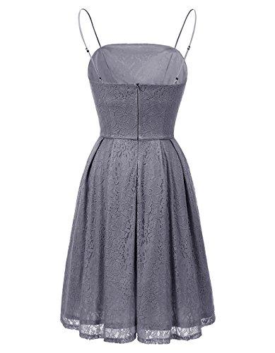 ALAGIRLS Frauen Lace Brautjunfer Kleider Spaghetti-Träger Party Kleid Kurz  Cocktailkleid Grau