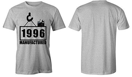 Manufactured 1996 - Rundhals-T-Shirt Männer-Herren - hochwertig bedruckt mit lustigem Spruch - Die perfekte Geschenk-Idee (05) grau-meliert