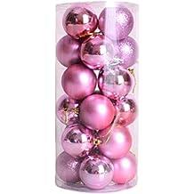 West See 24 Weihnachtskugeln glänzend glitzernd matt Christbaumschmuck Baumschmuck Weihnachtsdeko Anhänger (Pink)