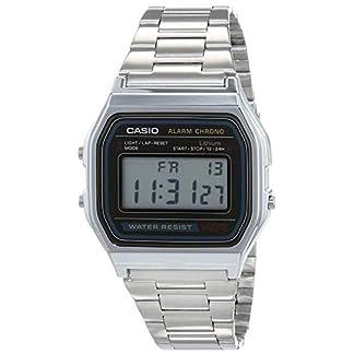 Casio A158WA – Reloj unisexo, correa de acero inoxidable color plateado