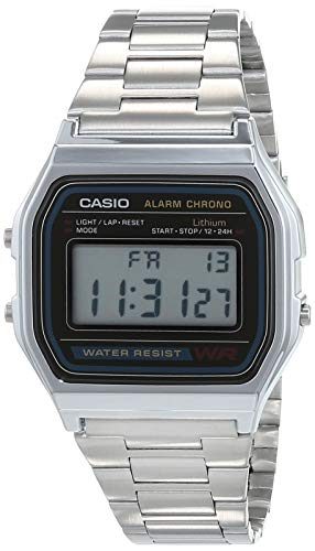Casio Men's Classic Digital Retro Daily Alarm Micro Light Watch A158WA-1D Water Resistant