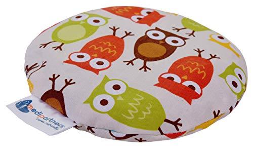 Kirschkernkissen Wärmekissen Körnerkissen für Babys 180g rund 15cm Öko Natur 100% Baumwolle Medi Partners Wärme + Kältetherapie Massagetherapie (Eulen)