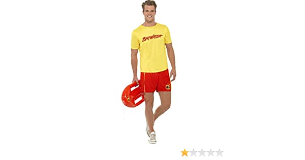 LIFEGUARD COSTUME YELLOW T-SHIRT AND FLOAT 1980S FANCY DRESS OUTFIT SUMMER