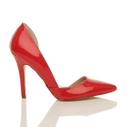 Ajvani Donna tacco alto stiletto numerore dorsay sandalo scarpe décolleté numero Rosso vernice