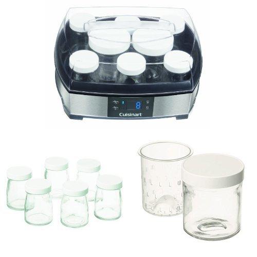 Cuisinart YM400E Joghurt- und Frischkäsebereiter (40 Watt), silber mit YM401E Glasgefäße 6x125ml und YM402E Gefäße 2x250ml